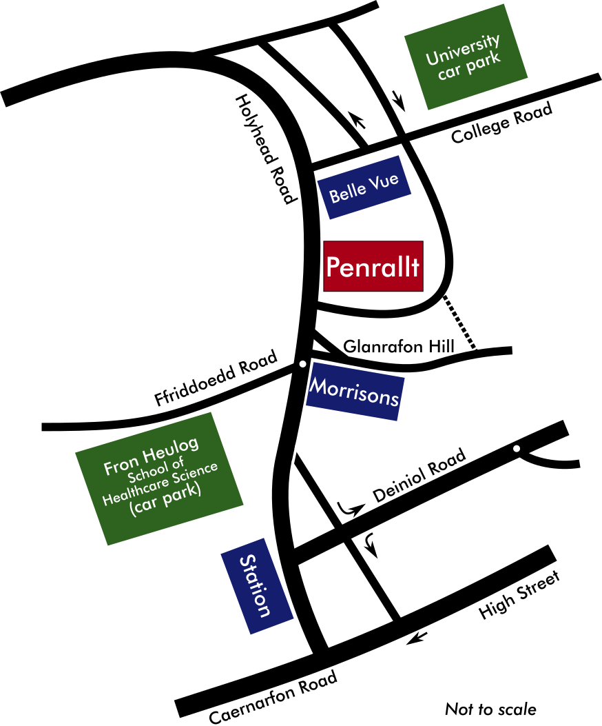 Map  of Upper Bangor showing Penrallt